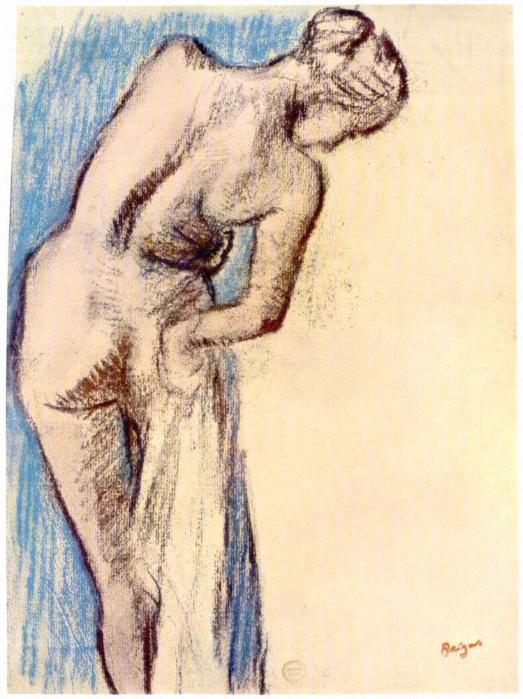 100% Hand Painted Oil on Canvas - Female after the bath by Degas