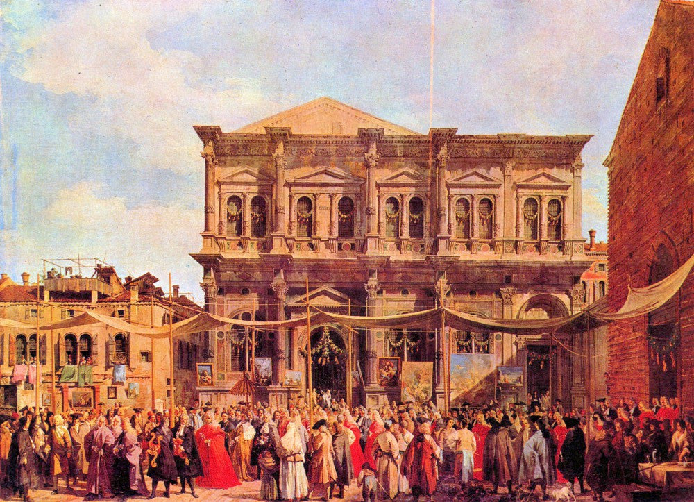 100% Hand Painted Oil on Canvas - Festival in San Rocco by Canaletto