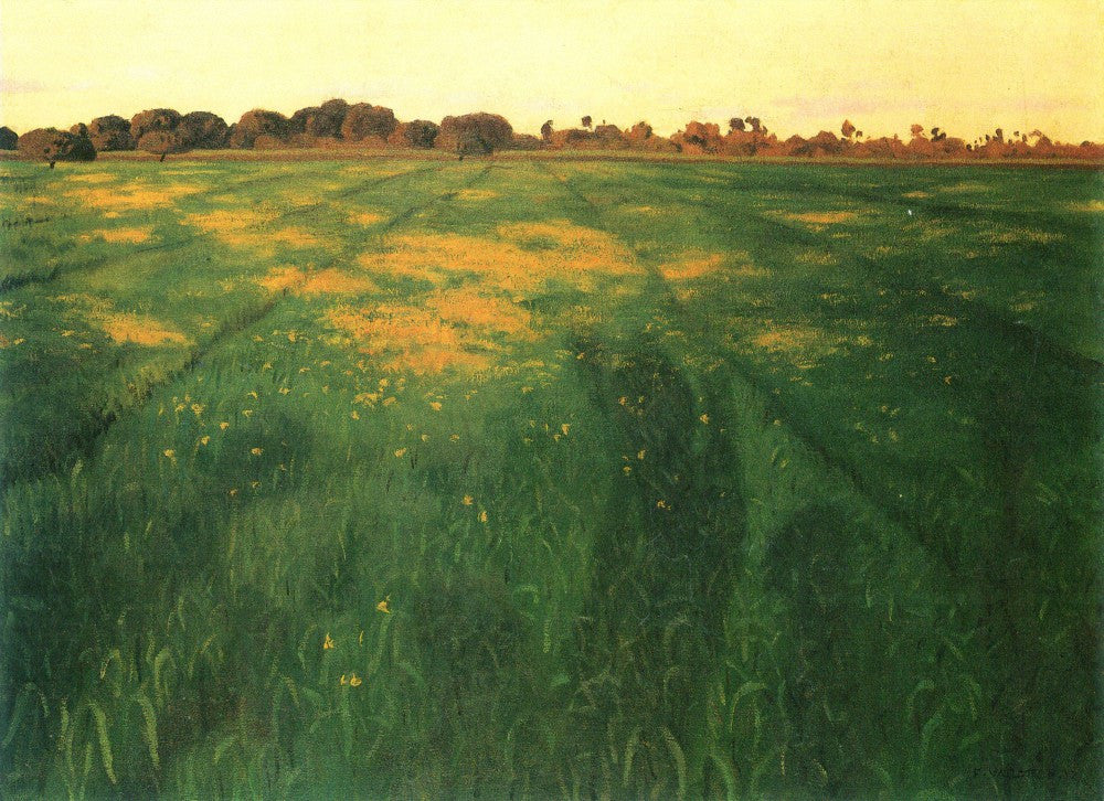 100% Hand Painted Oil on Canvas - Field of green oats by Felix Vallotton