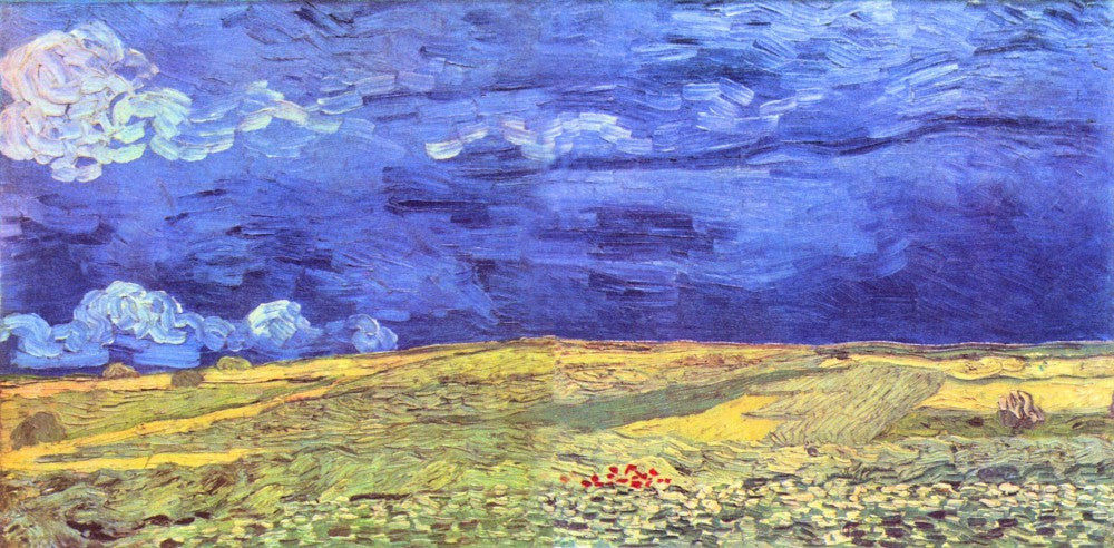 100% Hand Painted Oil on Canvas - Field under storm heaven by Van Gogh
