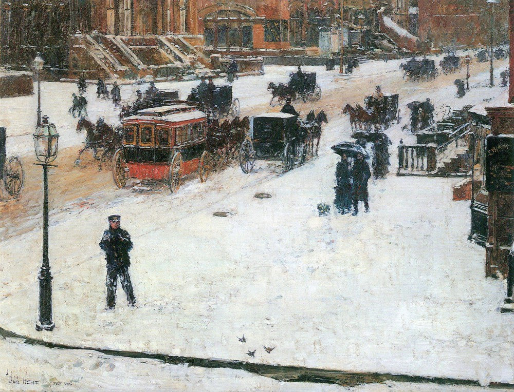 100% Hand Painted Oil on Canvas - Fifth Avenue in Winter by Hassam