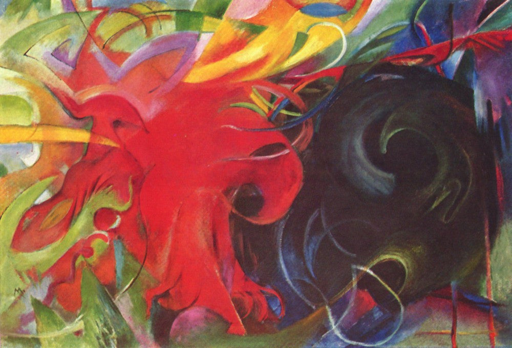 100% Hand Painted Oil on Canvas - Fighting forms by Franz Marc