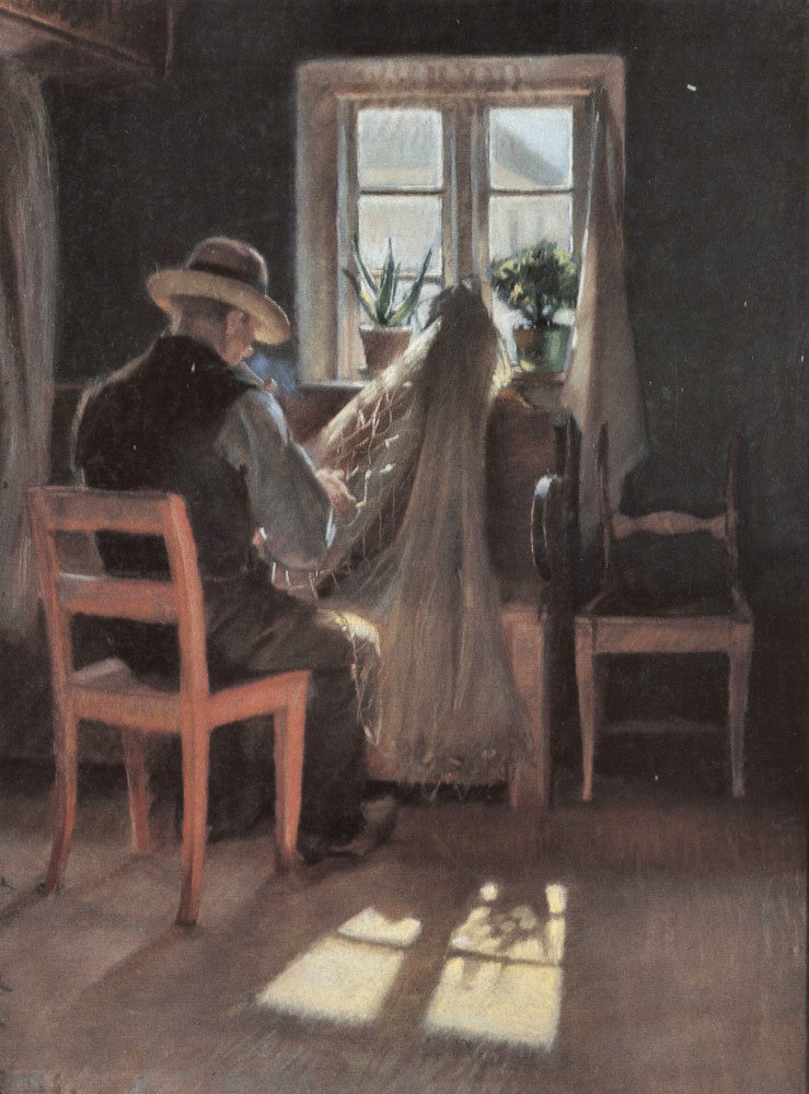 100% Hand Painted Oil on Canvas - Fisherman repairing his nets by Anna Ancher