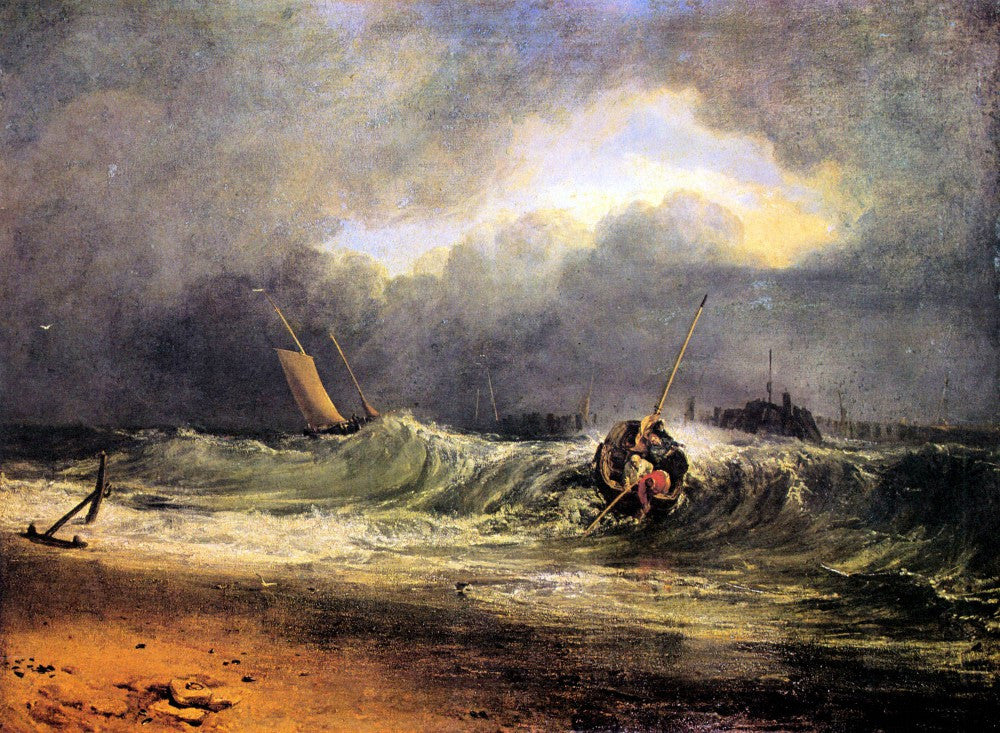 100% Hand Painted Oil on Canvas - Fishermen in a squall by Joseph Mallord Turner