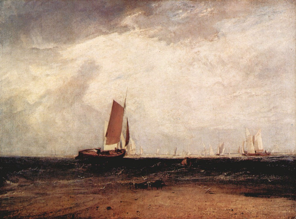100% Hand Painted Oil on Canvas - Fishing on the Blythe-Sand by Joseph Mallord Turner
