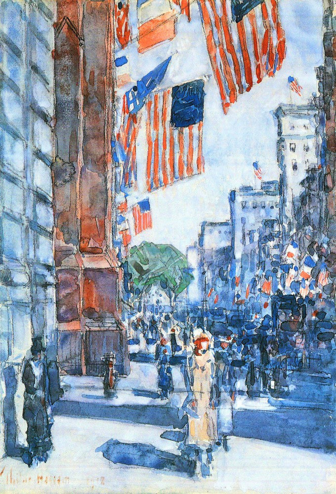 100% Hand Painted Oil on Canvas - Flags, Fifth Avenue by Hassam