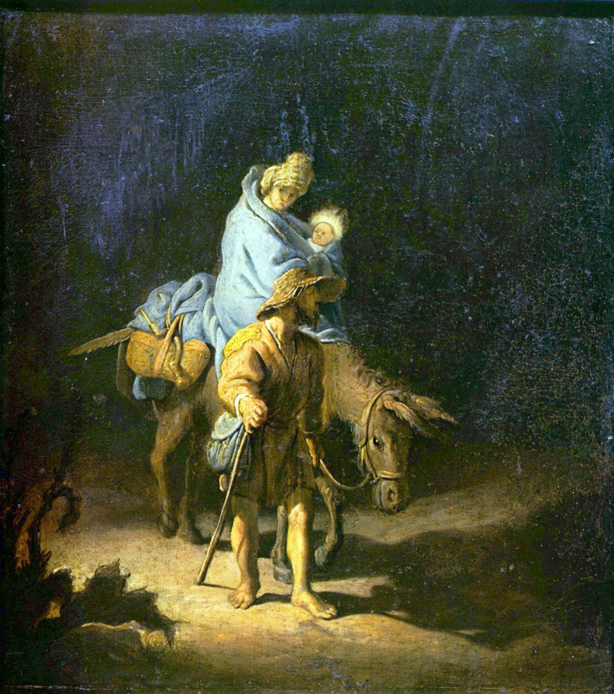 100% Hand Painted Oil on Canvas - Flight into Egypt by Rembrandt