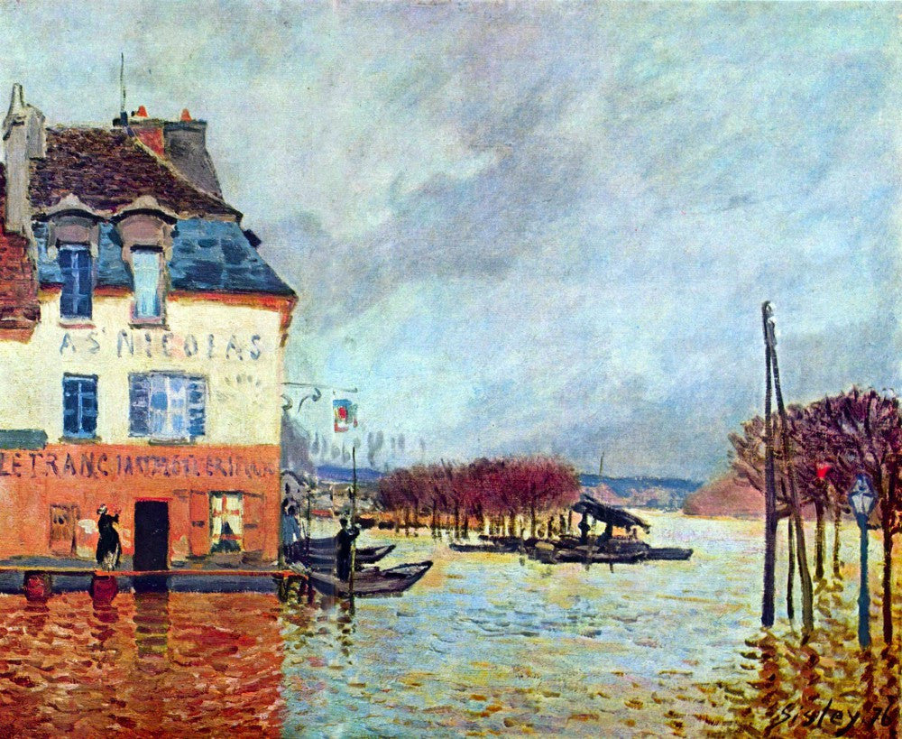 100% Hand Painted Oil on Canvas - Flood at Port Manly by Sisley