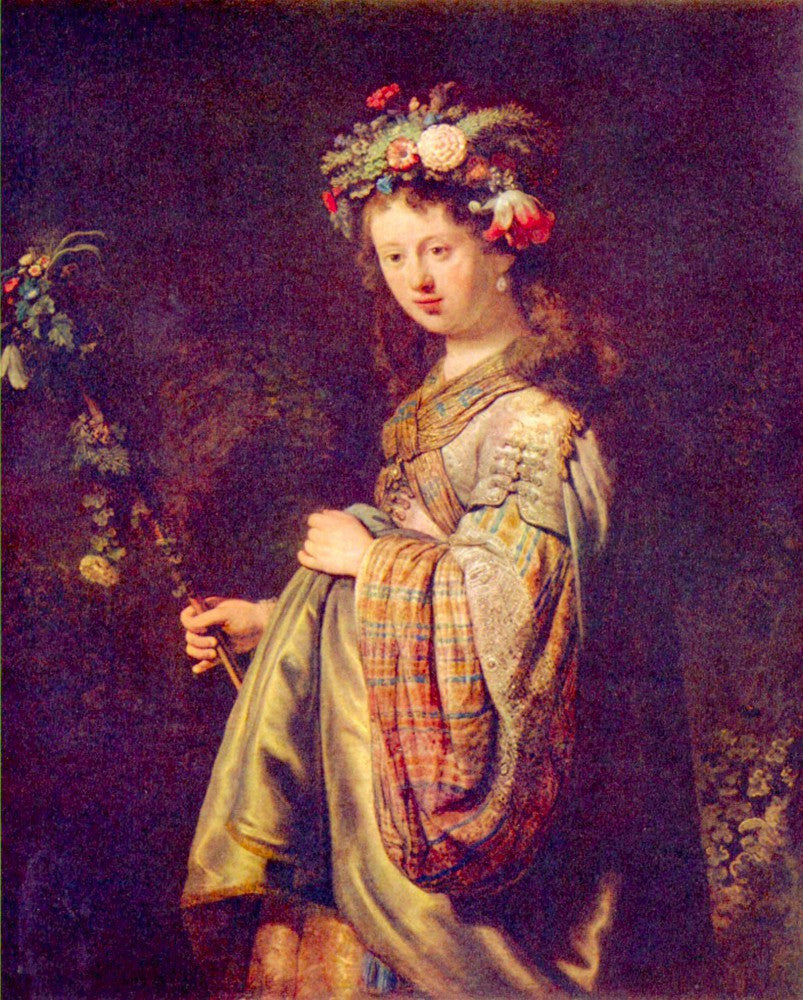 100% Hand Painted Oil on Canvas - Flora (portrait of Saskia as Flora) by Rembrandt