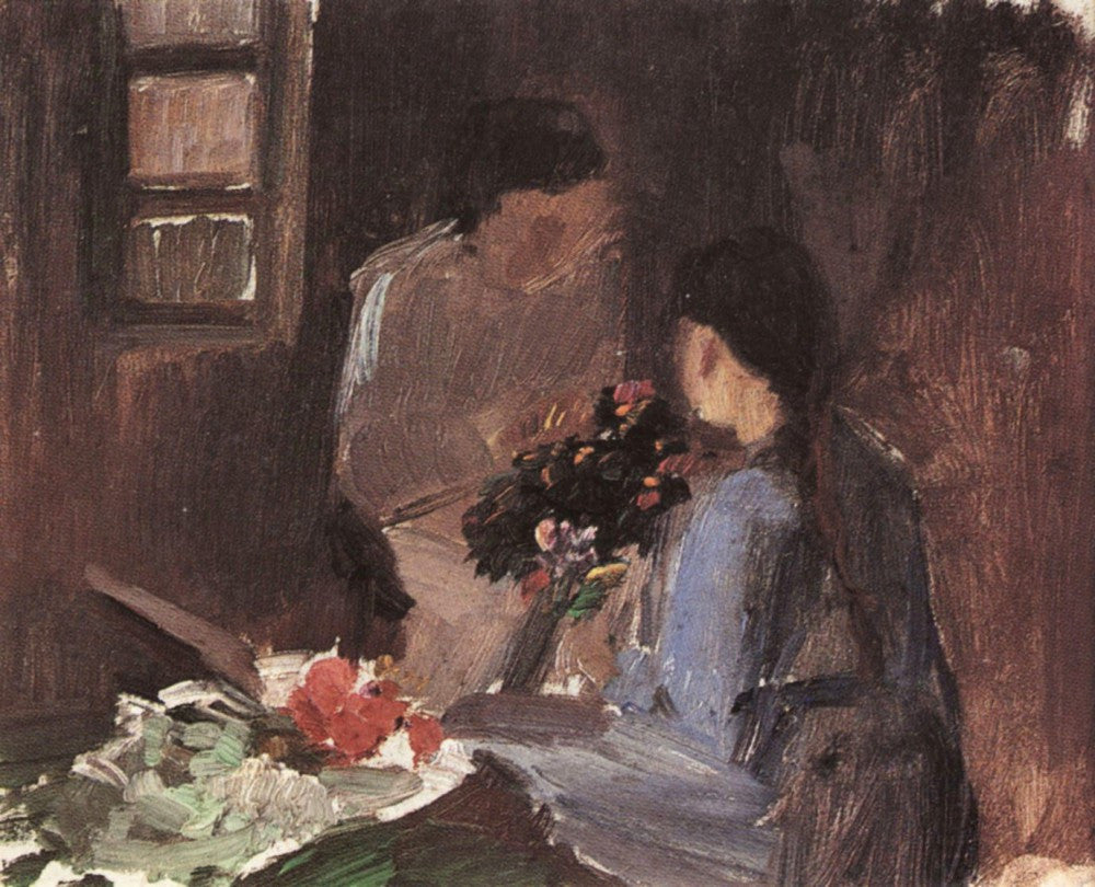 100% Hand Painted Oil on Canvas - Flower arrangement by Anna Ancher