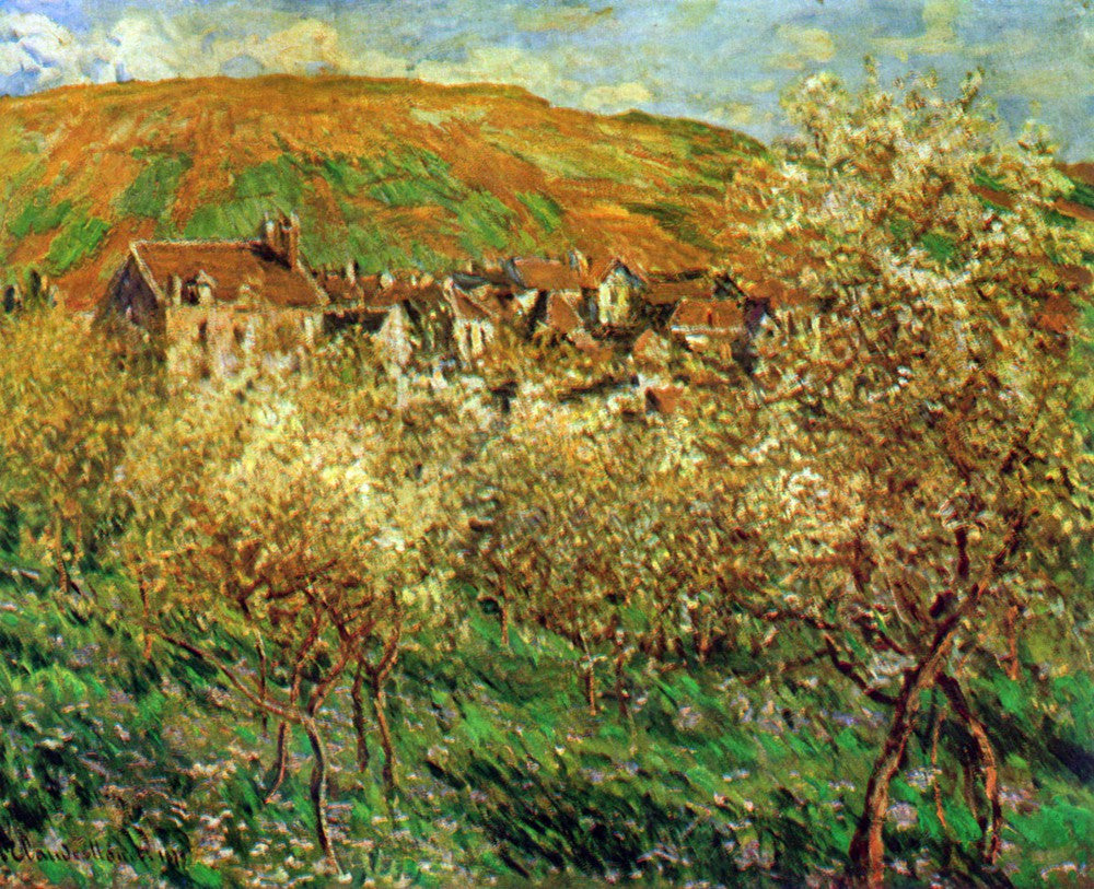 100% Hand Painted Oil on Canvas - Flowering apple trees by Monet