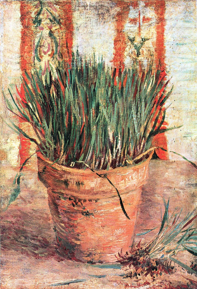 100% Hand Painted Oil on Canvas - Flowerpot with Chives by Van Gogh