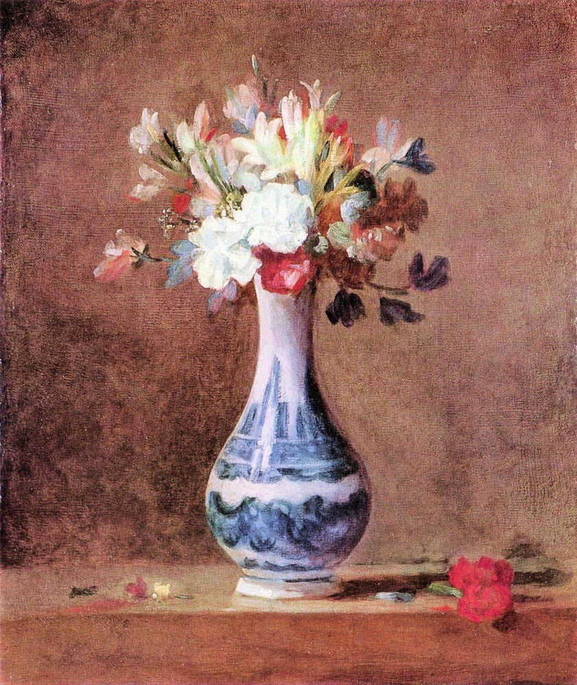 100% Hand Painted Oil on Canvas - Flowers in a Vase by Jean Chardin