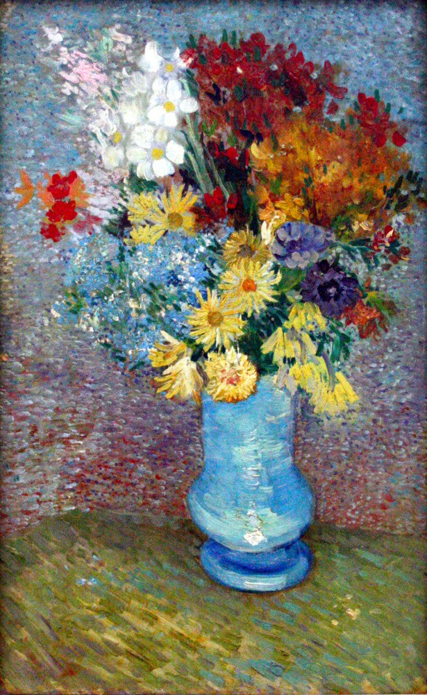 100% Hand Painted Oil on Canvas - Flowers in a blue vase by Van Gogh