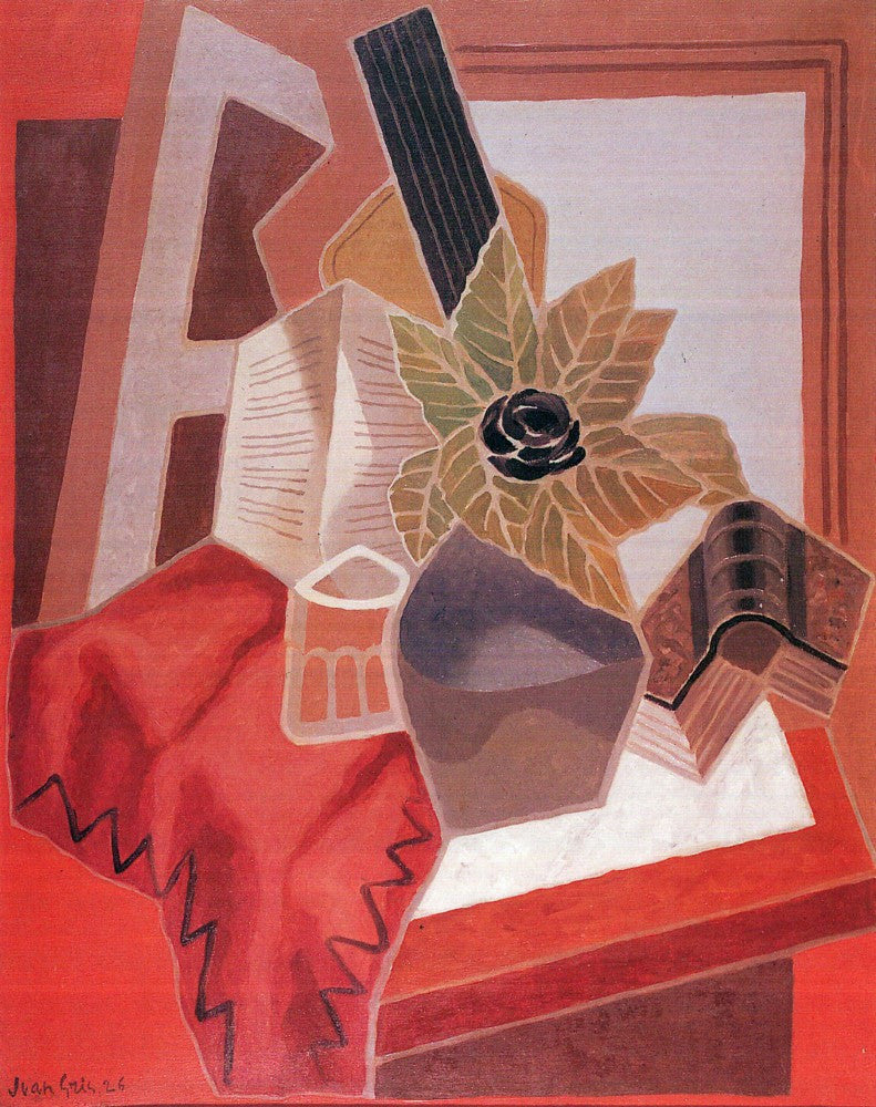 100% Hand Painted Oil on Canvas - Flowers on the table by Juan Gris