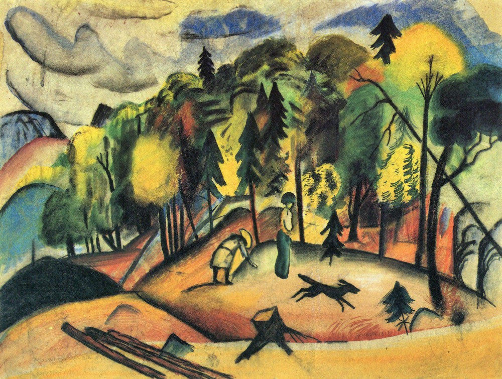 100% Hand Painted Oil on Canvas - Forest Walk by August Macke