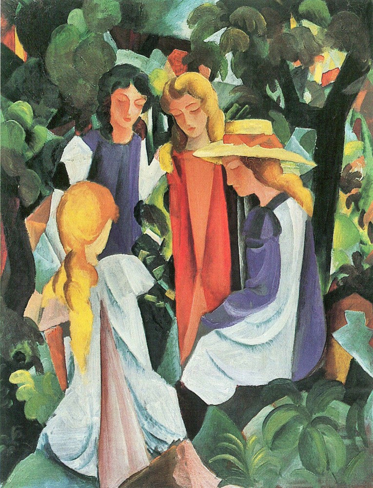 100% Hand Painted Oil on Canvas - Four girls by August Macke