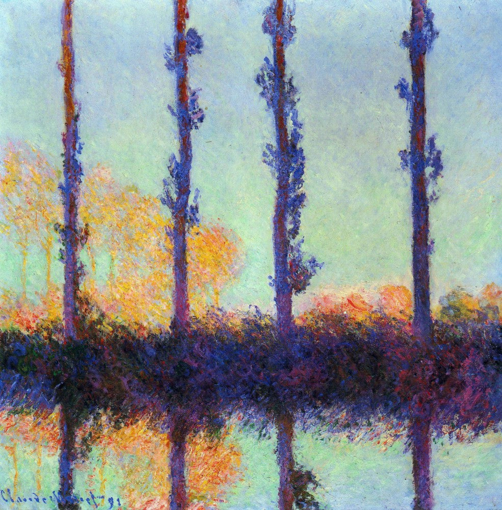 100% Hand Painted Oil on Canvas - Four poplars by Monet