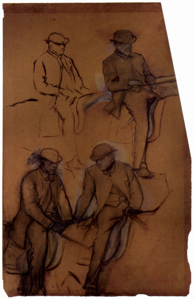 100% Hand Painted Oil on Canvas - Four riders - A study by Degas