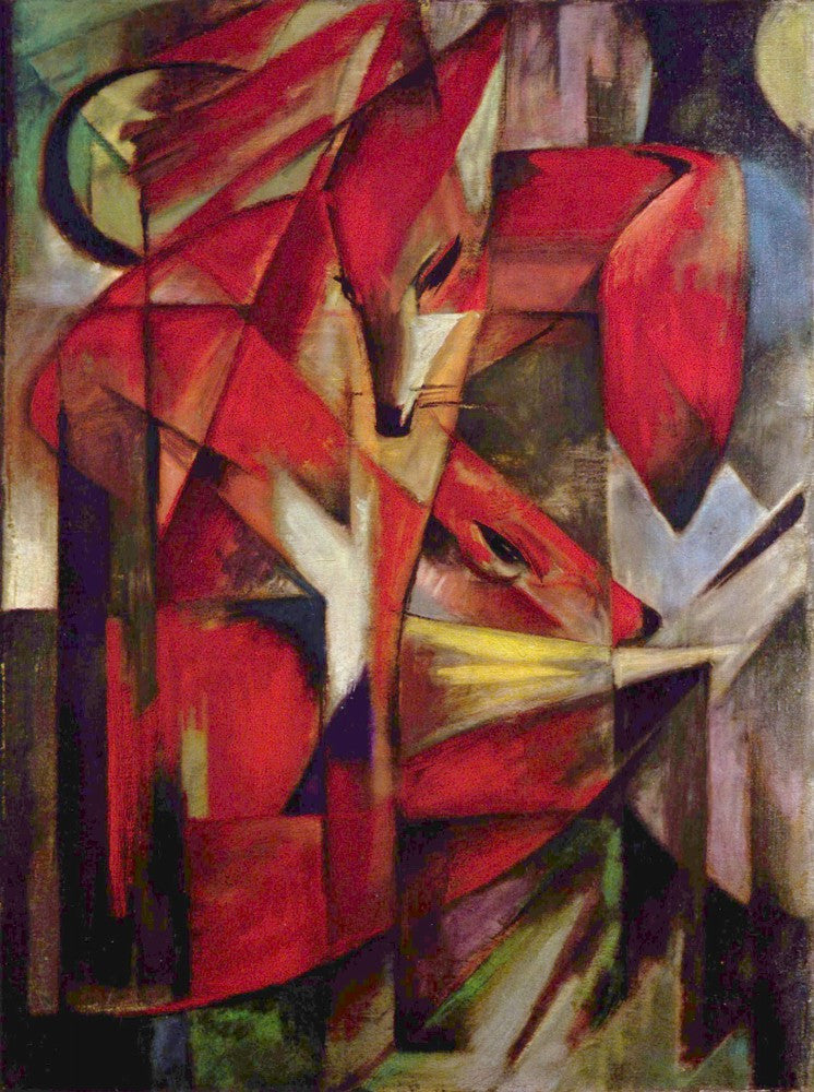 100% Hand Painted Oil on Canvas - Foxes by Franz Marc