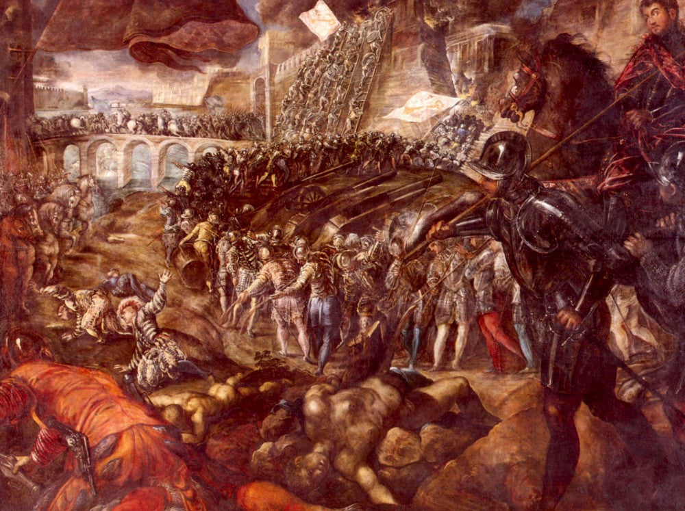 100% Hand Painted Oil on Canvas - Frerico II Gonzaga conquered Parma by Tintoretto