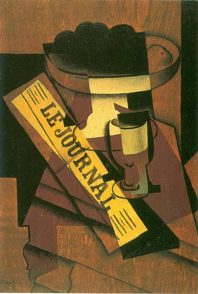 100% Hand Painted Oil on Canvas - Fruit bowl, glass and newspaper by Juan Gris