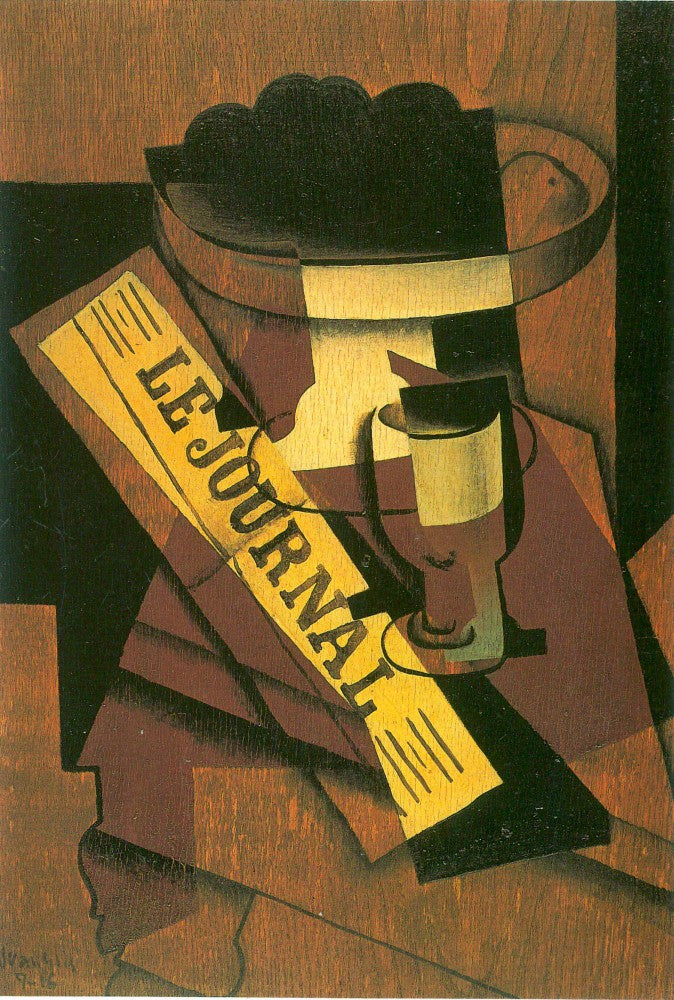 100% Hand Painted Oil on Canvas - Fruit bowl, glass and newspaper_lg by Juan Gris