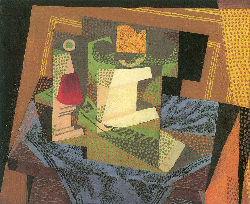 100% Hand Painted Oil on Canvas - Fruit bowl on a table cloth by Juan Gris
