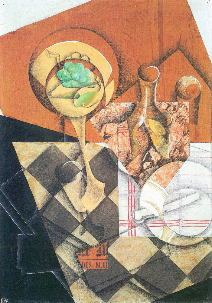 100% Hand Painted Oil on Canvas - Fruit peel and carafe by Juan Gris