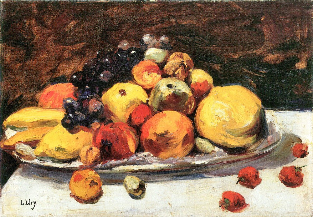 100% Hand Painted Oil on Canvas - Fruit still life on a white blanket by Lesser Ury