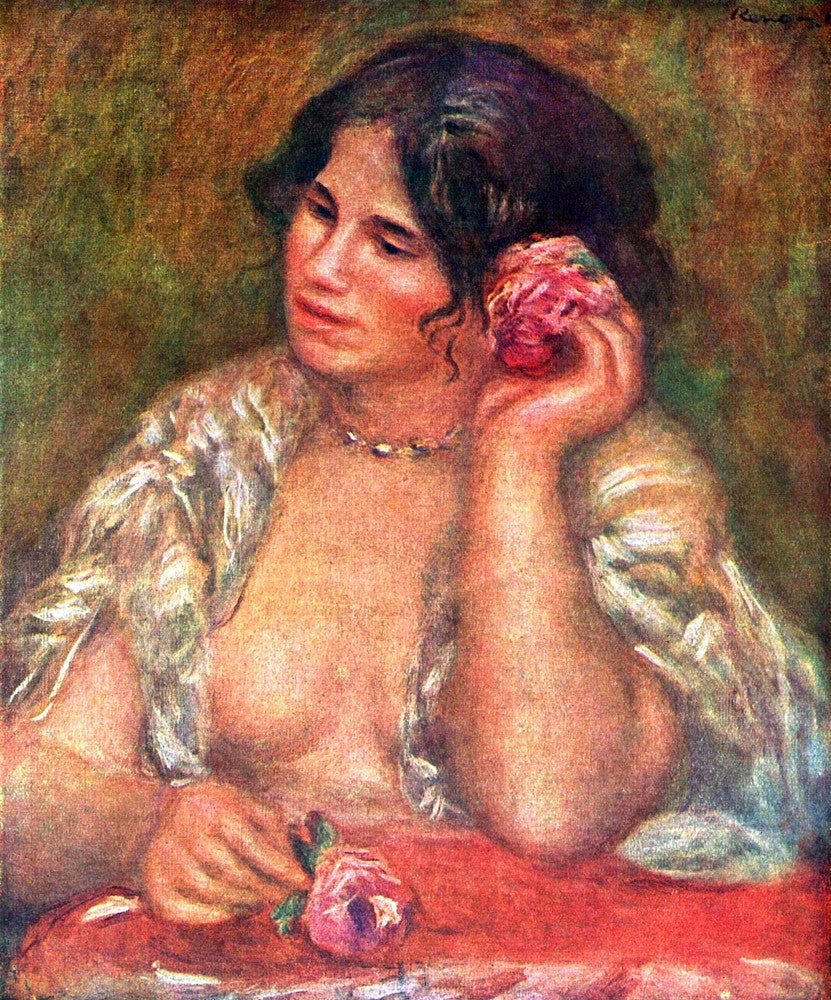 100% Hand Painted Oil on Canvas - Gabriele with a rose by Renoir