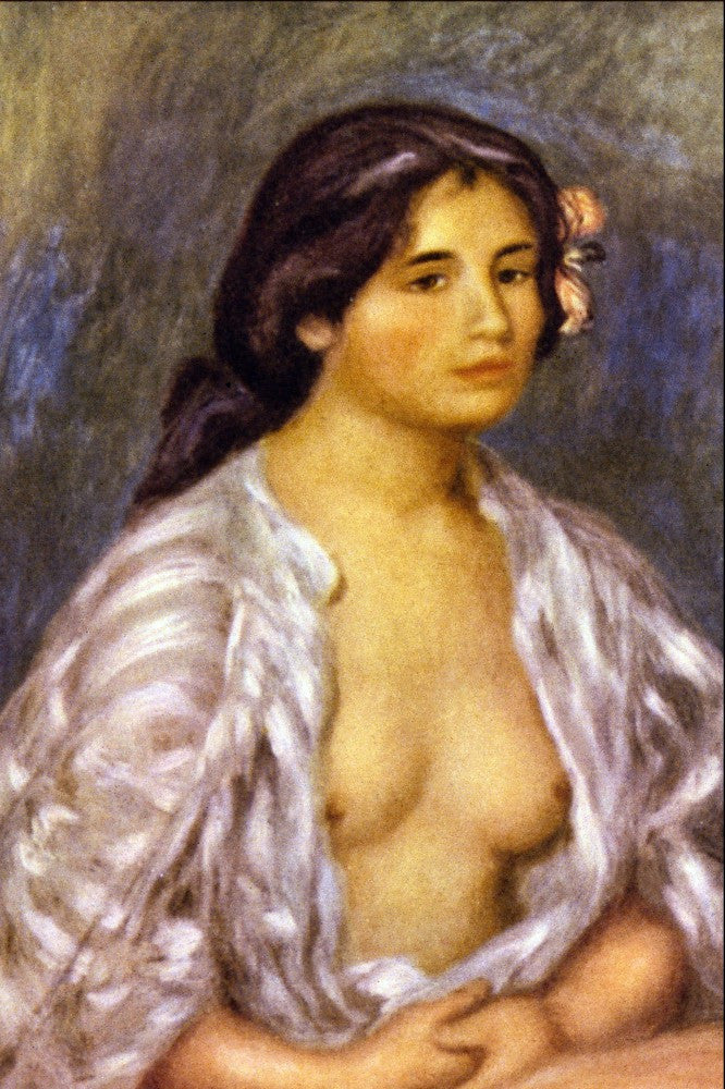 100% Hand Painted Oil on Canvas - Gabrielle in an Open Blouse by Renoir