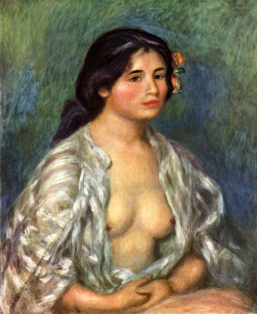 100% Hand Painted Oil on Canvas - Gabrielle with open blouse by Renoir