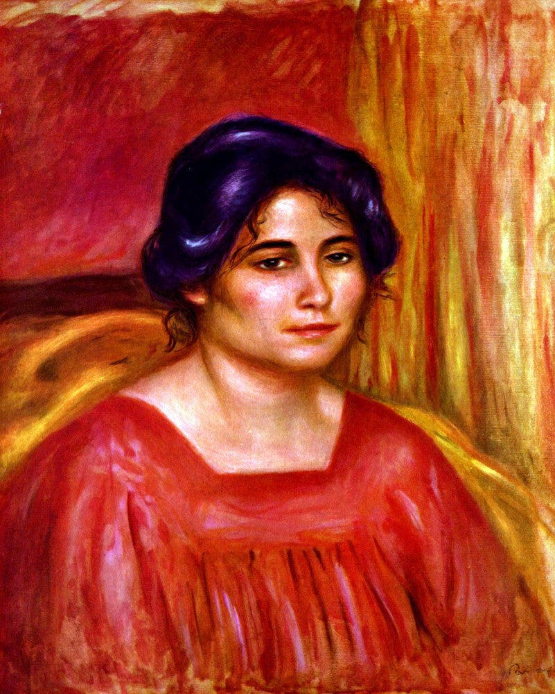 100% Hand Painted Oil on Canvas - Gabrielle with red blouse by Renoir