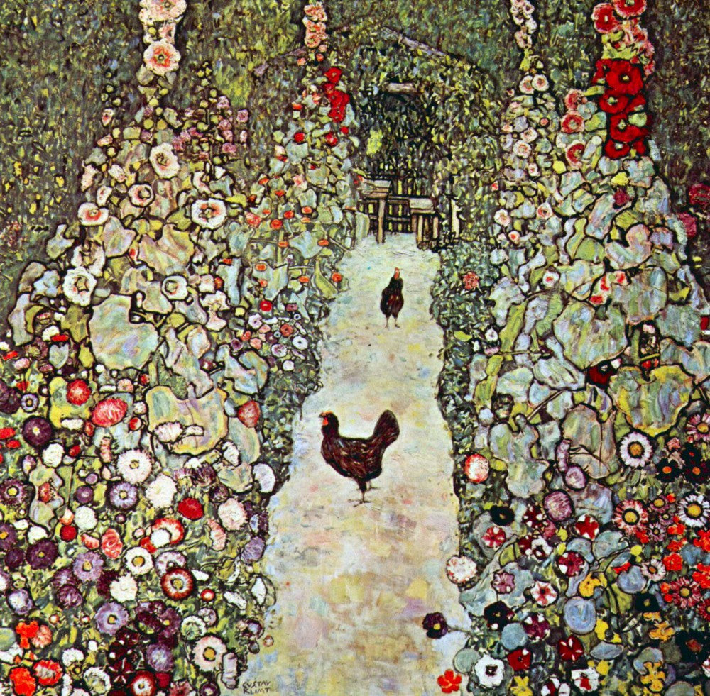 100% Hand Painted Oil on Canvas - Garden Path with Chickens by Klimt