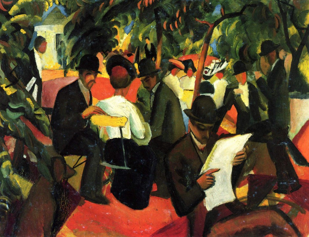 100% Hand Painted Oil on Canvas - Garden Restaurant by Macke