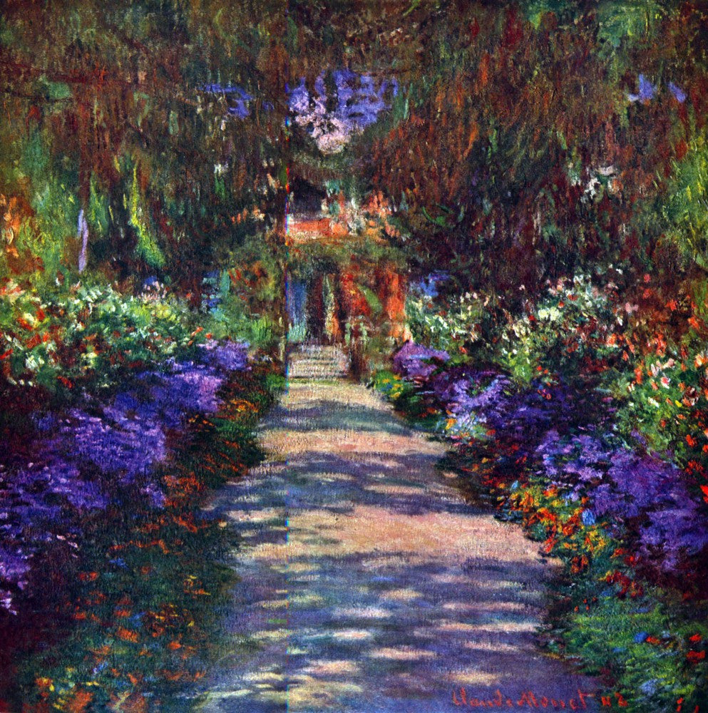 100% Hand Painted Oil on Canvas - Garden at Giverny by Monet