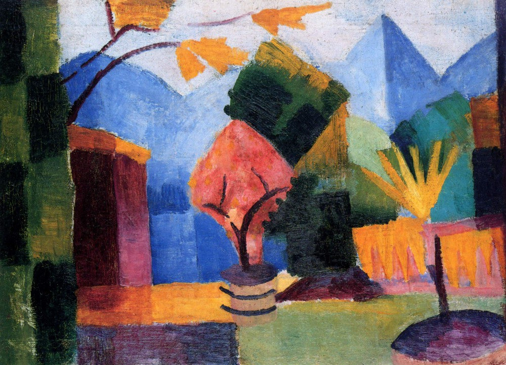 100% Hand Painted Oil on Canvas - Garden on the lake of Thun by Macke