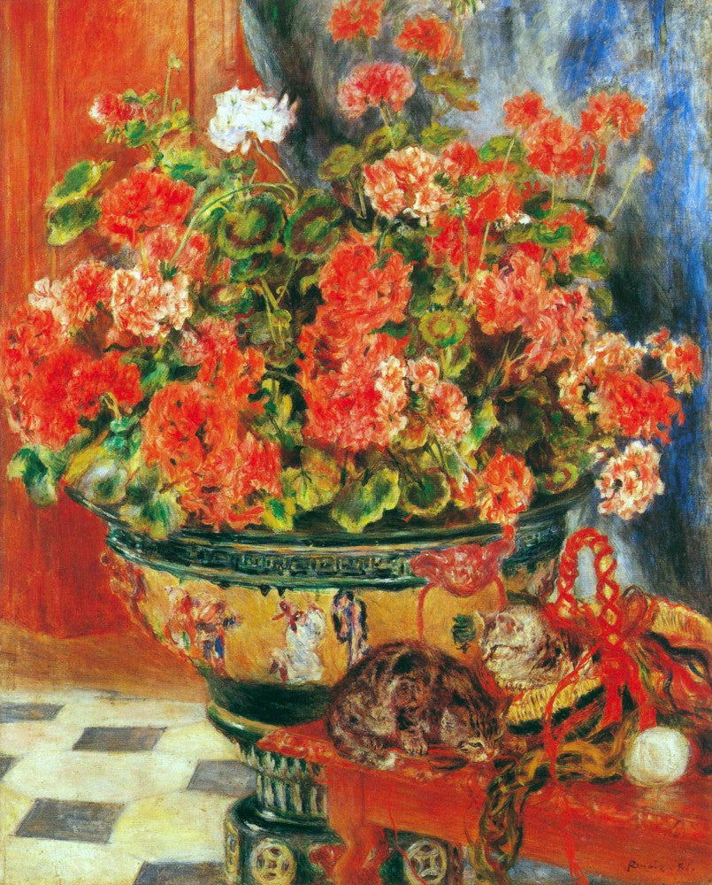 100% Hand Painted Oil on Canvas - Geraniums and cats by Renoir