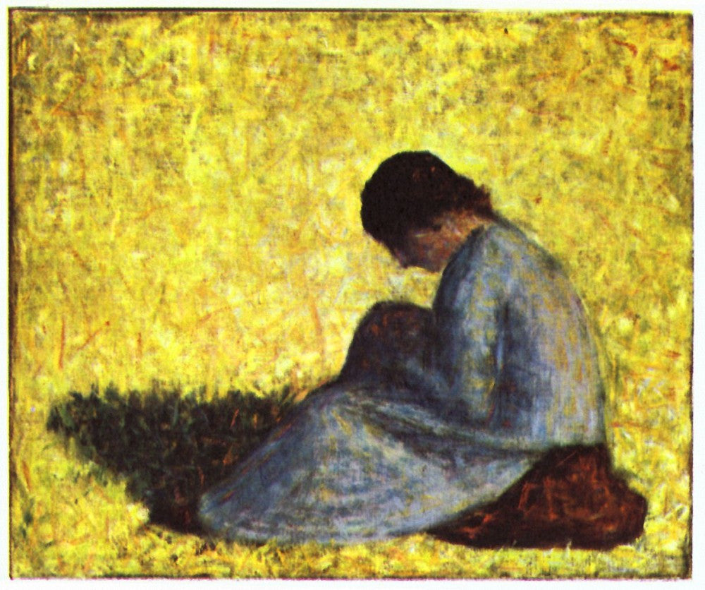 100% Hand Painted Oil on Canvas - Girl seated on the lawn by Seurat