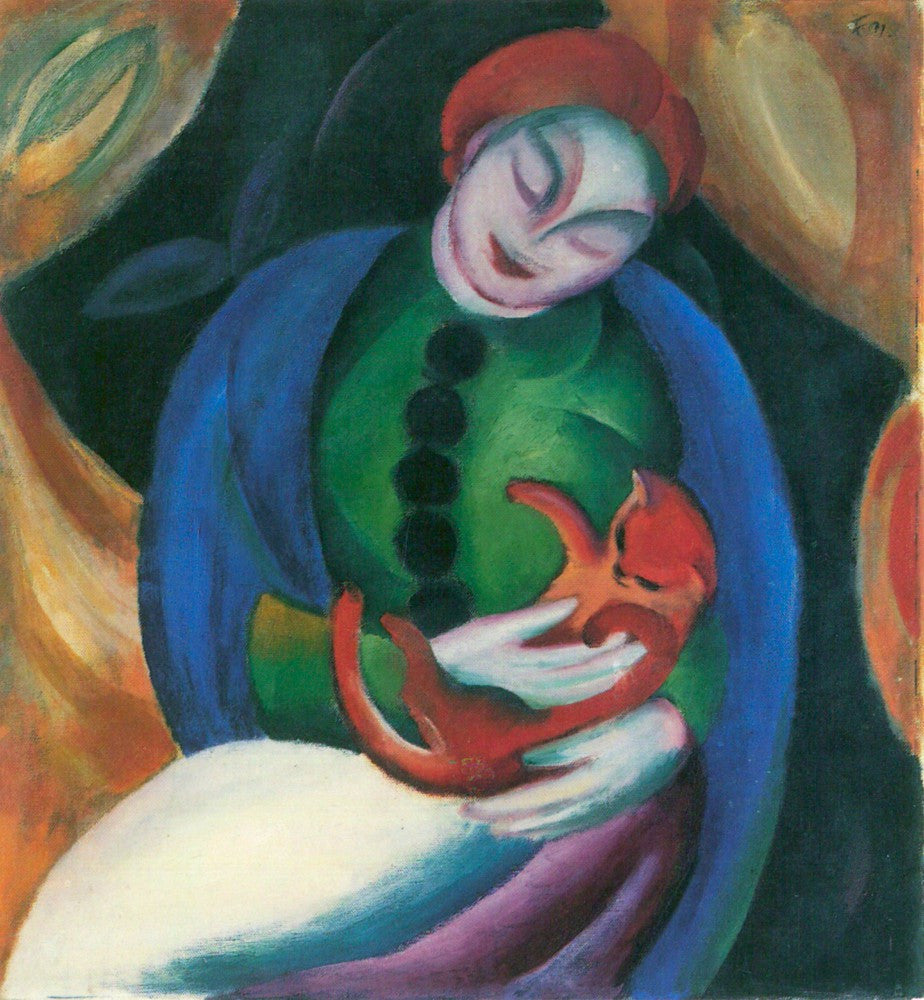 100% Hand Painted Oil on Canvas - Girl with a Cat II by Franz Marc
