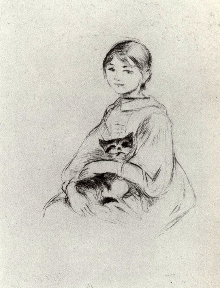 100% Hand Painted Oil on Canvas - Girl with a Cat by Morisot