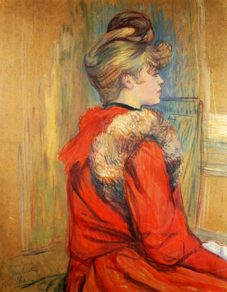 100% Hand Painted Oil on Canvas - Girl with fur, Study for the Moulin de la Galette by Toulouse-Lautrec