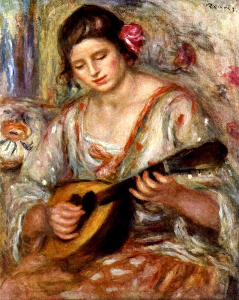 100% Hand Painted Oil on Canvas - Girl with mandolin by Renoir