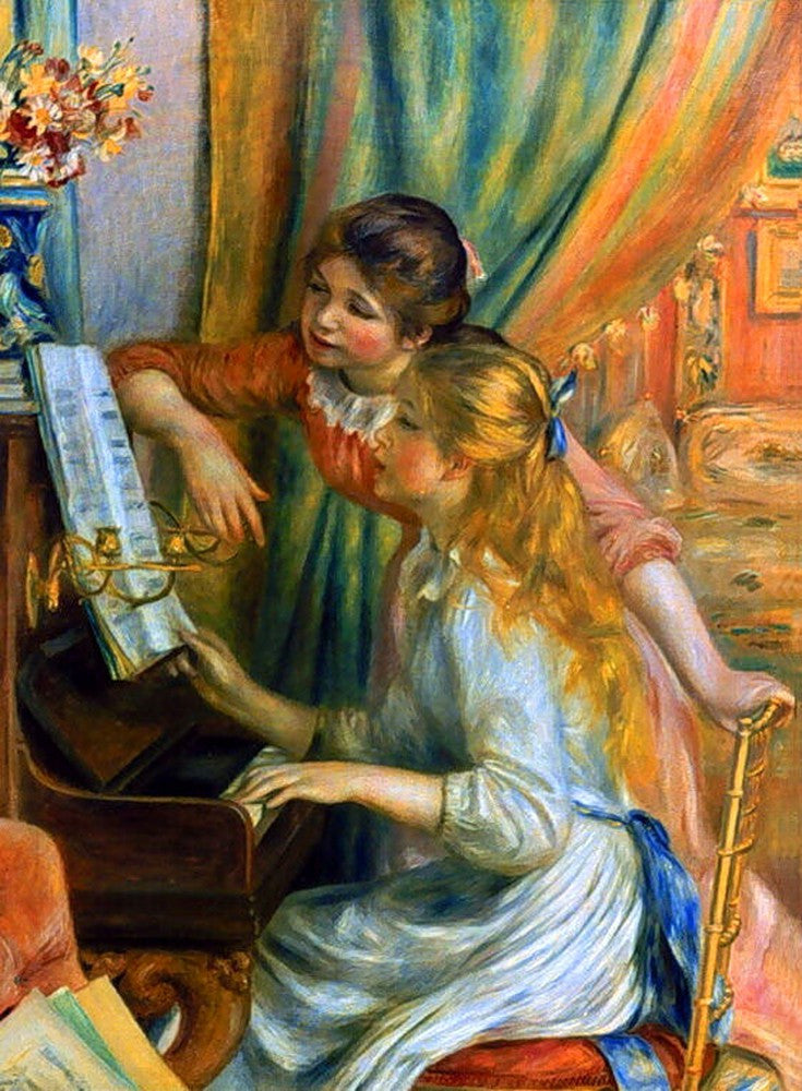 100% Hand Painted Oil on Canvas - Girls at the Piano