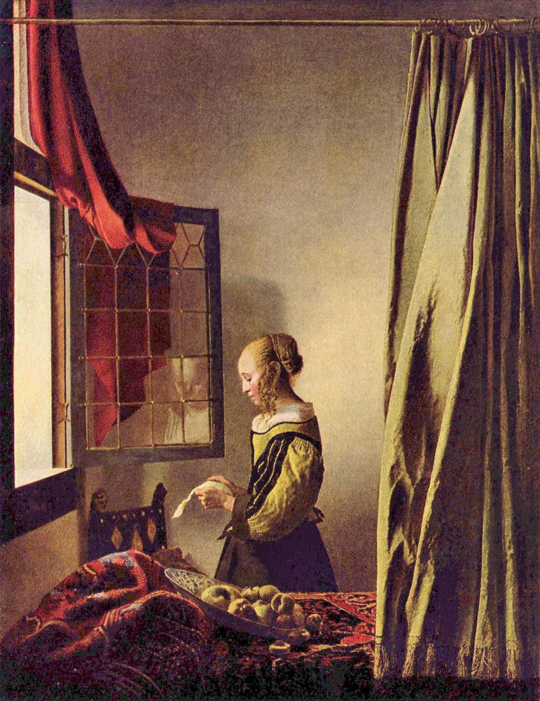 100% Hand Painted Oil on Canvas - Girls at the open window by Vermeer
