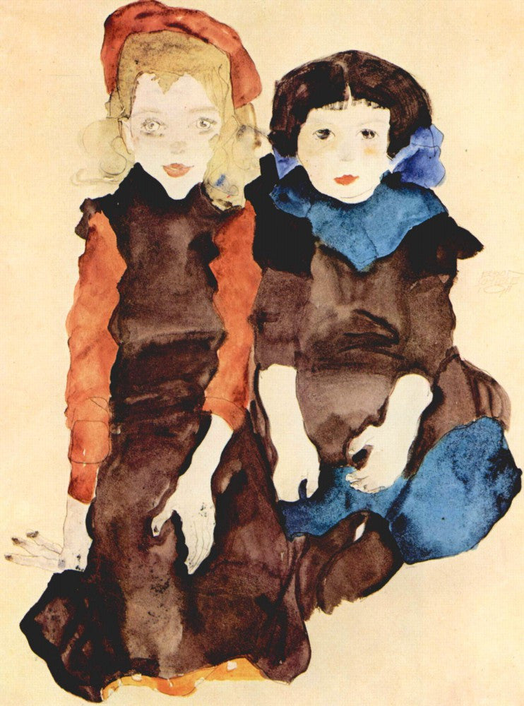 100% Hand Painted Oil on Canvas - Girls by Schiele