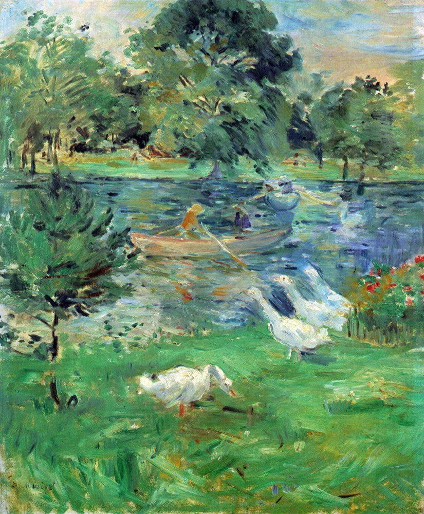 100% Hand Painted Oil on Canvas - Girls in a boat with geese by Morisot