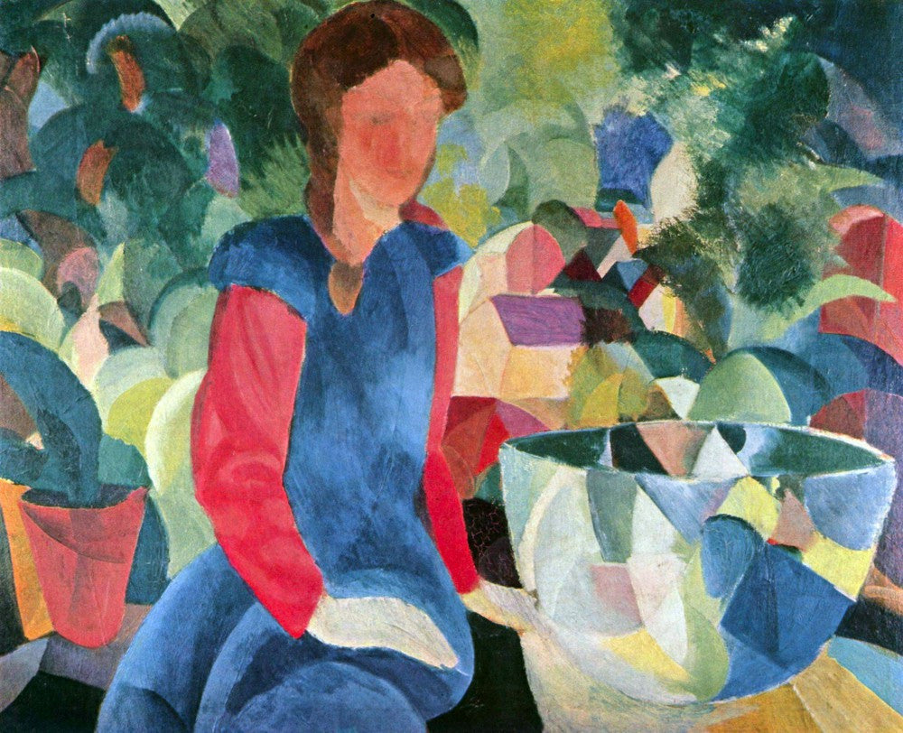 100% Hand Painted Oil on Canvas - Girls with fish bell by Macke