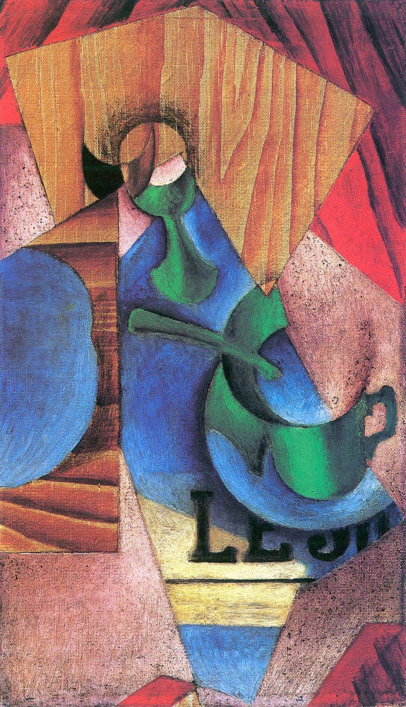 100% Hand Painted Oil on Canvas - Glass, cup and newspaper by Juan Gris